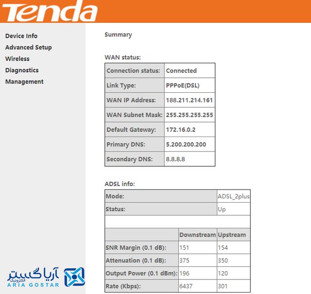 آموزش انتقال تصویر برای مودم Tenda